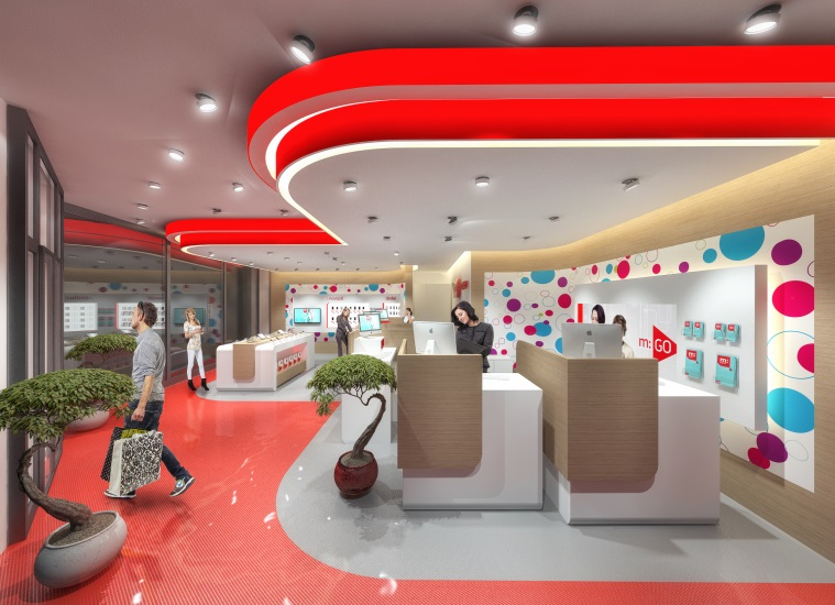 Corporate design concept for a branch office of MTEL Bosnia and Herzegovina -